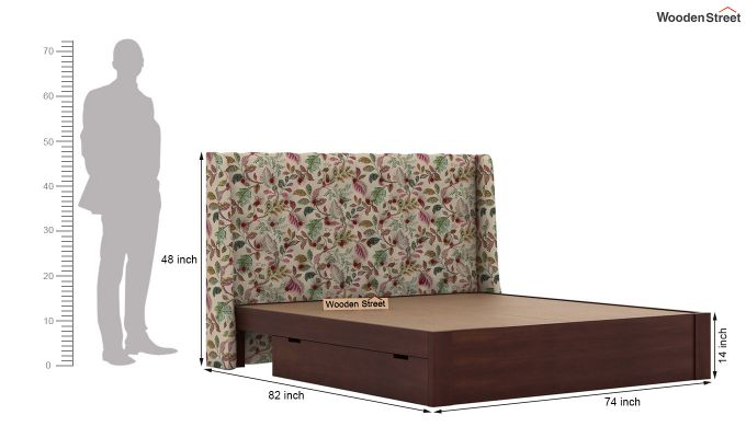 Pheobe Upholstered Bed With Storage (King Size, Rosy Leaf)-8