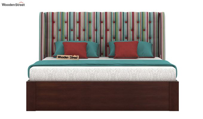 Pheobe Upholstered Bed With Storage (King Size, Striped Candy)-3