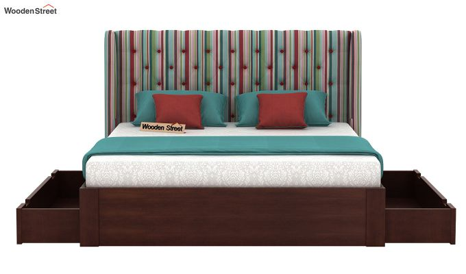Pheobe Upholstered Bed With Storage (King Size, Striped Candy)-5