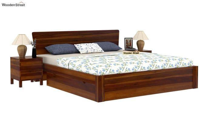 Pomona Bed With Storage (King Size, Honey Finish)-2