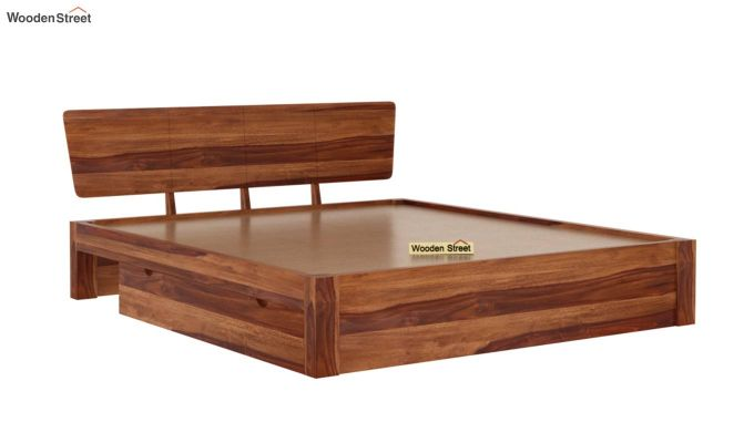Pomona Bed With Storage (Queen Size, Teak Finish)-6