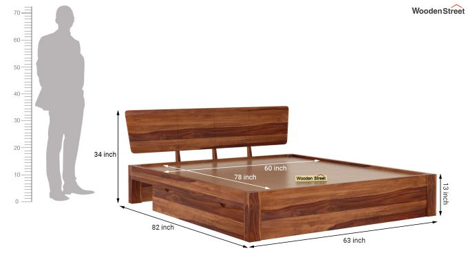 Pomona Bed With Storage (Queen Size, Teak Finish)-7