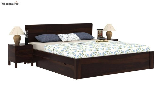 Pomona Bed With Storage (Queen Size, Walnut Finish)-2