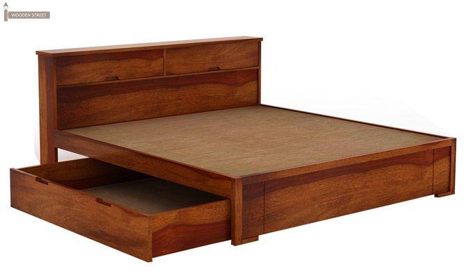 Prady Bed With Storage (King Size, Honey Finish)-6