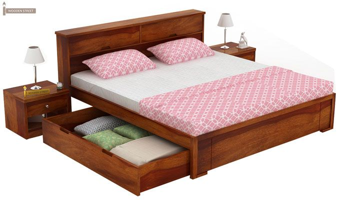 Prady Bed With Storage (King Size, Honey Finish)-4