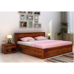 Prady Bed With Storage (Queen Size, Honey Finish)