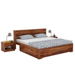 Prady Bed With Storage (Queen Size, Teak Finish)