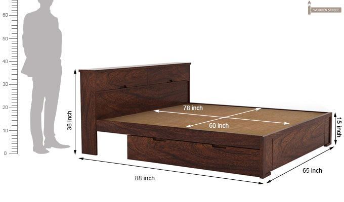 Prady Bed With Storage (Queen Size, Walnut Finish)-4