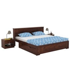 Prady Bed With Storage (Queen Size, Walnut Finish)