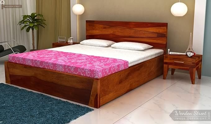 Sefra Bed With Storage (Queen Size, Honey Finish)-1