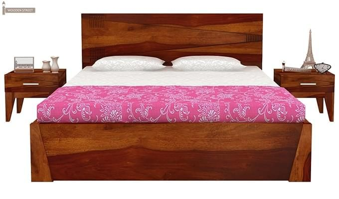 Sefra Bed With Storage (Queen Size, Honey Finish)-4