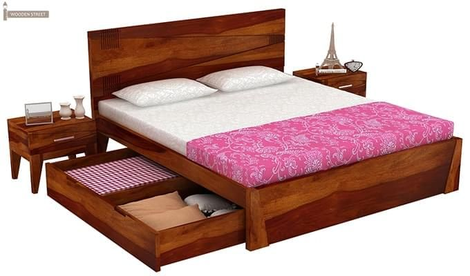 Sefra Bed With Storage (King Size, Honey Finish)-6