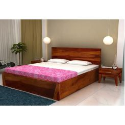 Sefra Bed With Storage (Queen Size, Honey Finish)