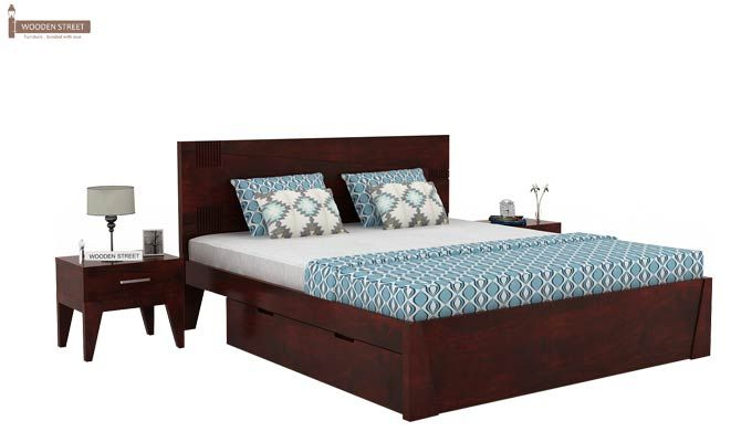 Sefra Bed With Storage (Queen Size, Mahogany Finish)-1