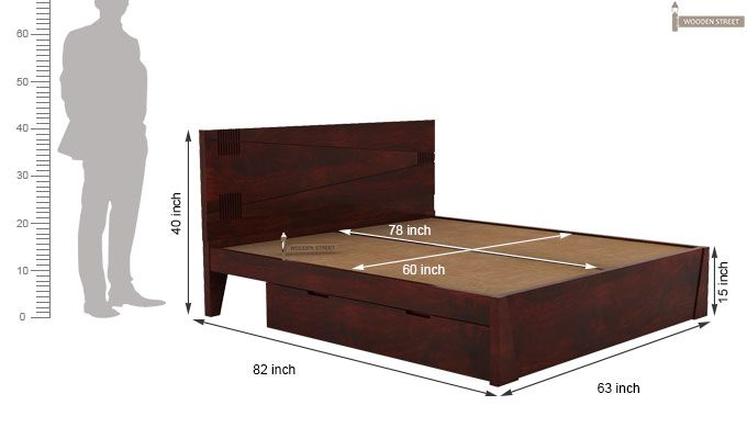 Sefra Bed With Storage (Queen Size, Mahogany Finish)-5