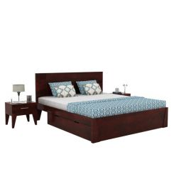 Sefra Bed With Storage (Queen Size, Mahogany Finish)