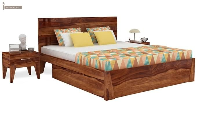 Sefra Bed With Storage (King Size, Teak Finish)-1