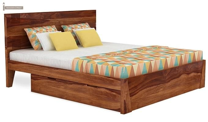 Sefra Bed With Storage (King Size, Teak Finish)-2