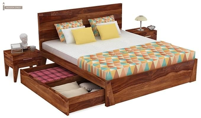 Sefra Bed With Storage (King Size, Teak Finish)-4