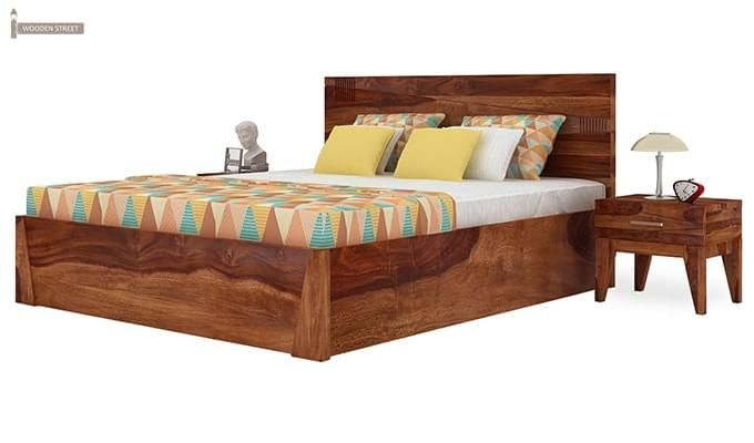 Sefra Bed With Storage (King Size, Teak Finish)-5
