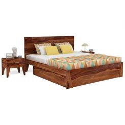 Sefra Bed With Storage (King Size, Teak Finish)