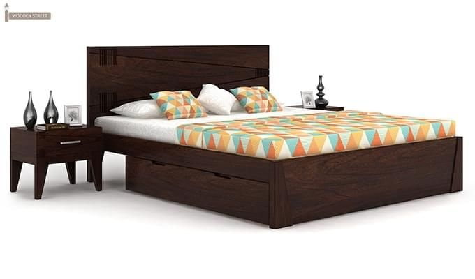 Sefra Bed With Storage (King Size, Walnut Finish)-1
