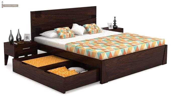 Sefra Bed With Storage (King Size, Walnut Finish)-5