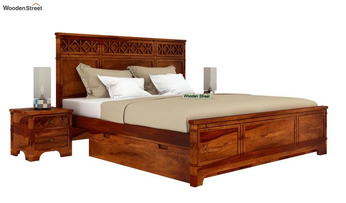 Swirl Bed With Storage (King Size, Honey Finish)-2