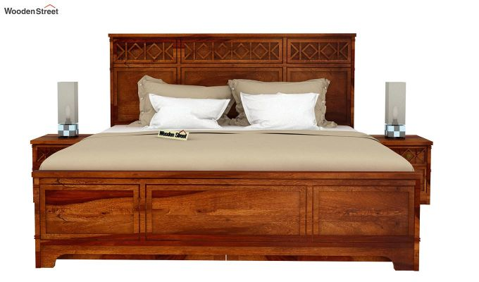 Swirl Bed With Storage (King Size, Honey Finish)-3