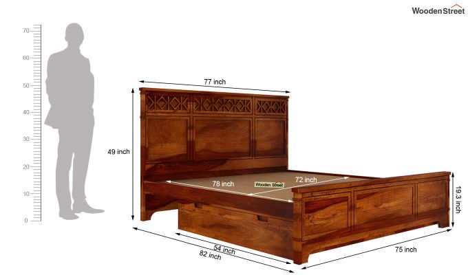 Swirl Bed With Storage (King Size, Honey Finish)-6
