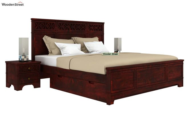 Swirl Bed With Storage (King Size, Mahogany Finish)-2
