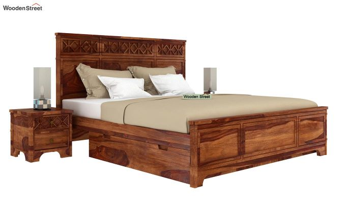 Swirl Bed With Storage (King Size, Teak Finish)-2