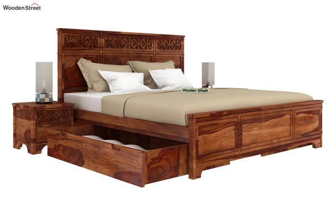 Swirl Bed With Storage (King Size, Teak Finish)-4