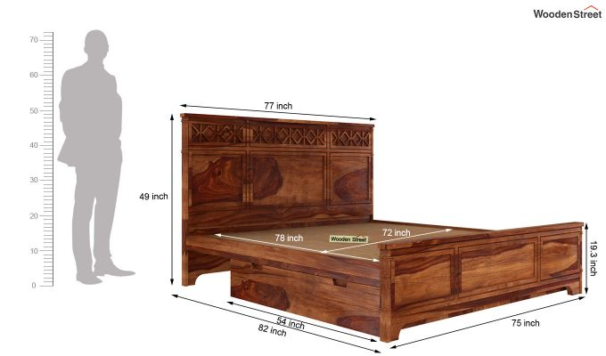 Swirl Bed With Storage (King Size, Teak Finish)-6