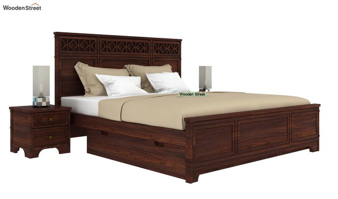 Swirl Bed With Storage (Queen Size, Walnut Finish)-2
