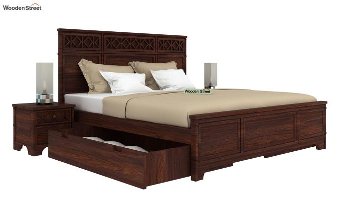 Swirl Bed With Storage (Queen Size, Walnut Finish)-4