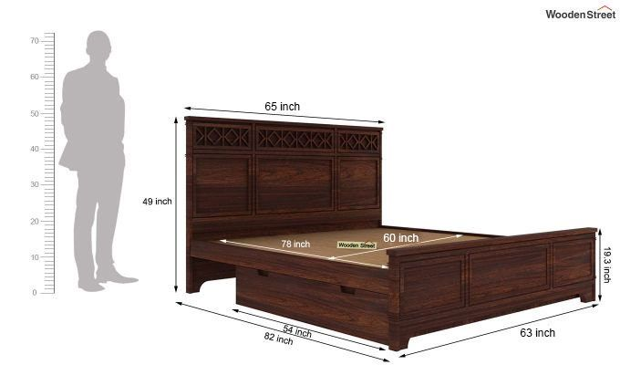 Swirl Bed With Storage (Queen Size, Walnut Finish)-6