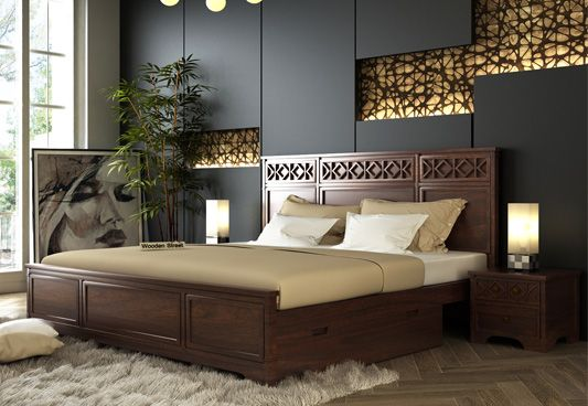 Swirl Bed With Storage (King Size, Walnut Finish)