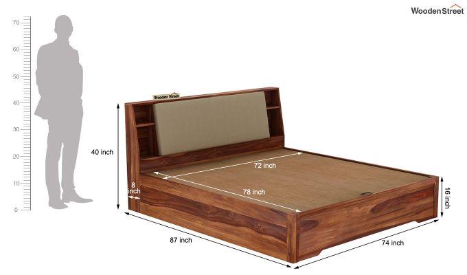Telos Hydraulic Bed (King Size,Teak Finish)-11