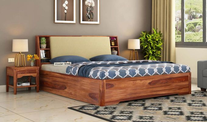 Telos Hydraulic Bed (Queen Size,Teak Finish)-1