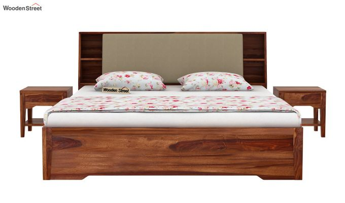 Telos Hydraulic Bed (Queen Size,Teak Finish)-3