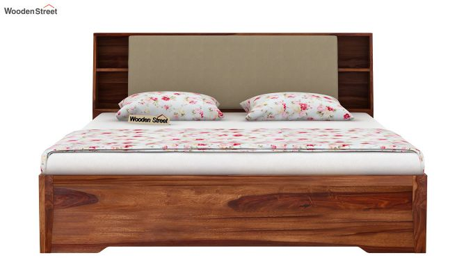 Telos Hydraulic Bed (Queen Size,Teak Finish)-5