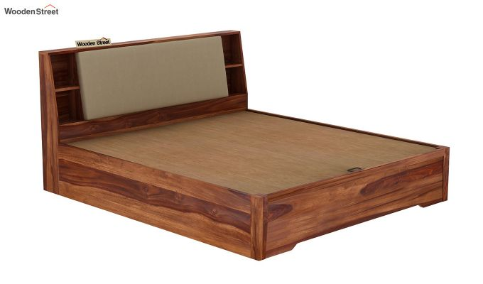 Telos Hydraulic Bed (Queen Size,Teak Finish)-6