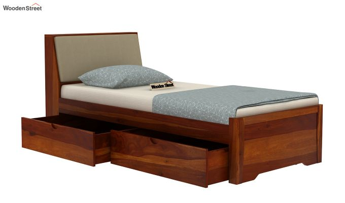 Telos Single Bed With Storage (Honey Finish)-4