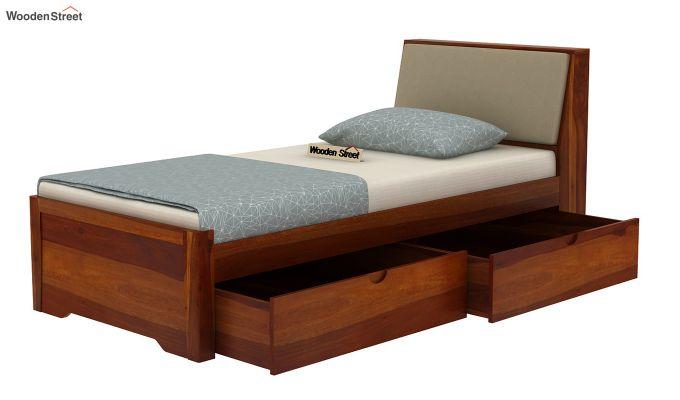 Telos Single Bed With Storage (Honey Finish)-6