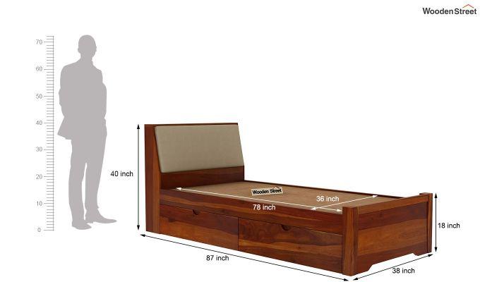 Telos Single Bed With Storage (Honey Finish)-9