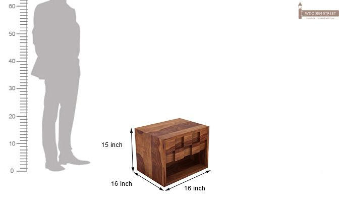 Travis Bedside Table (Teak Finish)-6