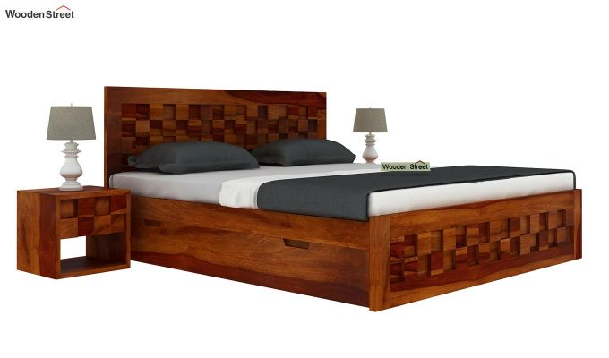 Travis Bed With Storage (King Size, Honey Finish)-2