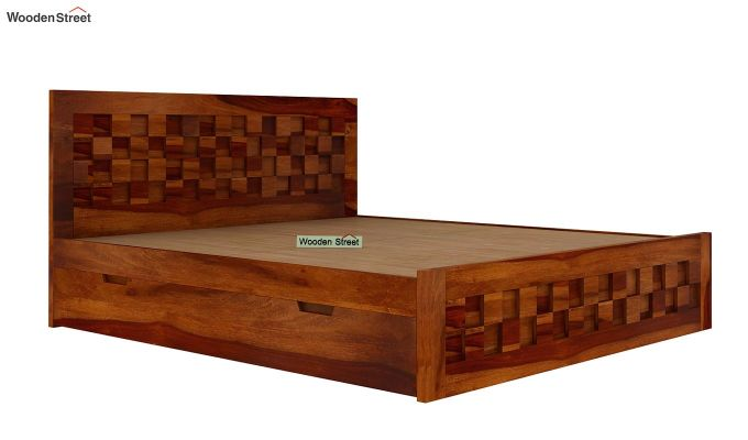 Travis Bed With Storage (King Size, Honey Finish)-5