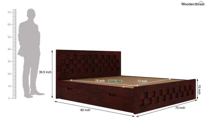 Travis Bed With Storage (King Size, Mahogany Finish)-6